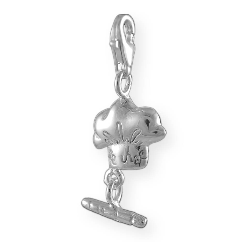 melina charms clip on pendant chef cook sterling silver